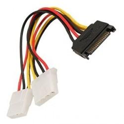 20CM 4-Pin Molex Dual Female To 15-Pin SATA Male Power Adaptor Cable