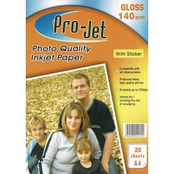 Pro-Jet 140gsm A4 Gloss Photo Sticker Paper (20 Sheets)