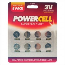 Powercell 8 Pack 3V Coin Batteries